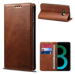 Suteni Simple Style Calf Stripe Leather Wallet Phone Case for Samsung Galaxy S8 Plus S8+ - Brown