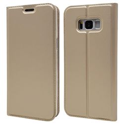 Ultra Slim Card Magnetic Automatic Suction Leather Wallet Case for Samsung Galaxy S8 Plus S8+ - Champagne