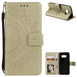 Intricate Embossing Datura Leather Wallet Case for Samsung Galaxy S8 Plus S8+ - Golden