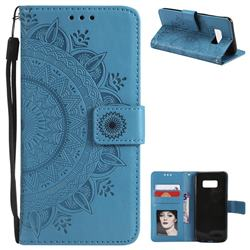 Intricate Embossing Datura Leather Wallet Case for Samsung Galaxy S8 Plus S8+ - Blue