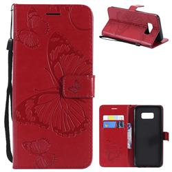 Embossing 3D Butterfly Leather Wallet Case for Samsung Galaxy S8 Plus S8+ - Red