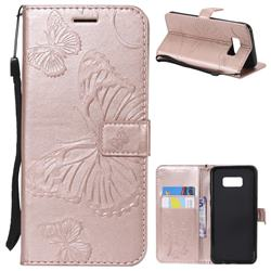Embossing 3D Butterfly Leather Wallet Case for Samsung Galaxy S8 Plus S8+ - Rose Gold