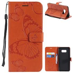Embossing 3D Butterfly Leather Wallet Case for Samsung Galaxy S8 Plus S8+ - Orange