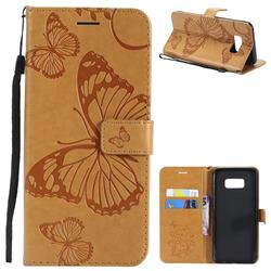 Embossing 3D Butterfly Leather Wallet Case for Samsung Galaxy S8 Plus S8+ - Yellow