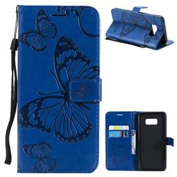 Embossing 3D Butterfly Leather Wallet Case for Samsung Galaxy S8 Plus S8+ - Blue