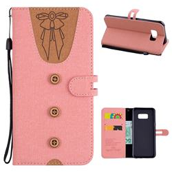 Ladies Bow Clothes Pattern Leather Wallet Phone Case for Samsung Galaxy S8 Plus S8+ - Pink