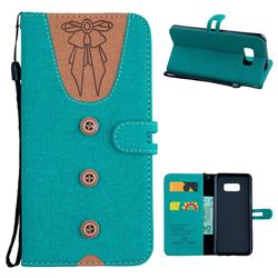 Ladies Bow Clothes Pattern Leather Wallet Phone Case for Samsung Galaxy S8 Plus S8+ - Green