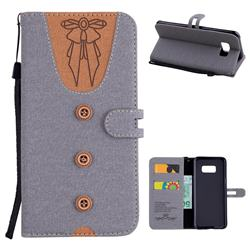 Ladies Bow Clothes Pattern Leather Wallet Phone Case for Samsung Galaxy S8 Plus S8+ - Gray
