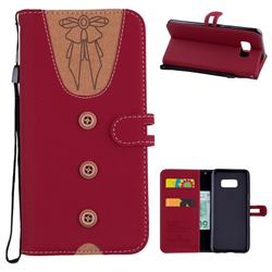Ladies Bow Clothes Pattern Leather Wallet Phone Case for Samsung Galaxy S8 Plus S8+ - Red