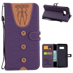 Ladies Bow Clothes Pattern Leather Wallet Phone Case for Samsung Galaxy S8 Plus S8+ - Purple