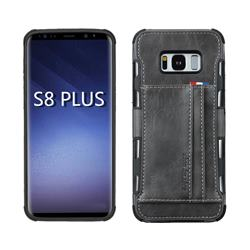 Luxury Shatter-resistant Leather Coated Card Phone Case for Samsung Galaxy S8 Plus S8+ - Gray