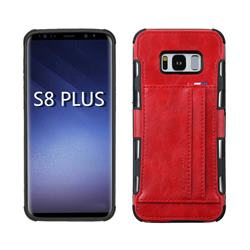 Luxury Shatter-resistant Leather Coated Card Phone Case for Samsung Galaxy S8 Plus S8+ - Red