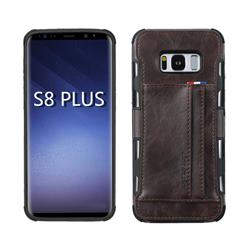 Luxury Shatter-resistant Leather Coated Card Phone Case for Samsung Galaxy S8 Plus S8+ - Coffee
