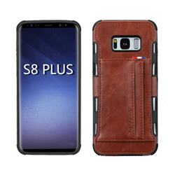 Luxury Shatter-resistant Leather Coated Card Phone Case for Samsung Galaxy S8 Plus S8+ - Brown