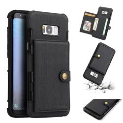 Brush Multi-function Leather Phone Case for Samsung Galaxy S8 Plus S8+ - Black