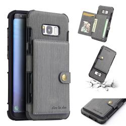 Brush Multi-function Leather Phone Case for Samsung Galaxy S8 Plus S8+ - Gray