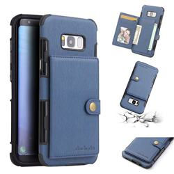 Brush Multi-function Leather Phone Case for Samsung Galaxy S8 Plus S8+ - Blue
