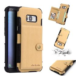 Brush Multi-function Leather Phone Case for Samsung Galaxy S8 Plus S8+ - Golden