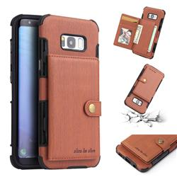 Brush Multi-function Leather Phone Case for Samsung Galaxy S8 Plus S8+ - Brown