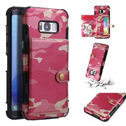 Camouflage Multi-function Leather Phone Case for Samsung Galaxy S8 Plus S8+ - Rose