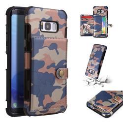 Camouflage Multi-function Leather Phone Case for Samsung Galaxy S8 Plus S8+ - Blue