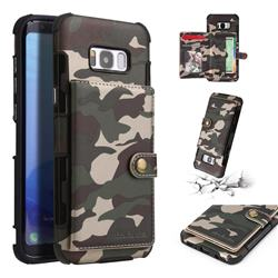 Camouflage Multi-function Leather Phone Case for Samsung Galaxy S8 Plus S8+ - Army Green