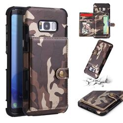 Camouflage Multi-function Leather Phone Case for Samsung Galaxy S8 Plus S8+ - Coffee