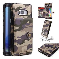Camouflage Multi-function Leather Phone Case for Samsung Galaxy S8 Plus S8+ - Purple