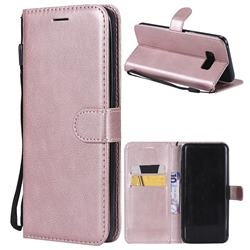Retro Greek Classic Smooth PU Leather Wallet Phone Case for Samsung Galaxy S8 Plus S8+ - Rose Gold
