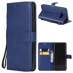 Retro Greek Classic Smooth PU Leather Wallet Phone Case for Samsung Galaxy S8 Plus S8+ - Blue