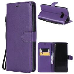 Retro Greek Classic Smooth PU Leather Wallet Phone Case for Samsung Galaxy S8 Plus S8+ - Purple