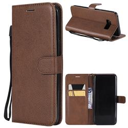 Retro Greek Classic Smooth PU Leather Wallet Phone Case for Samsung Galaxy S8 Plus S8+ - Brown