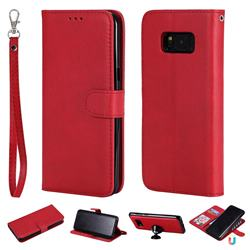 Retro Greek Detachable Magnetic PU Leather Wallet Phone Case for Samsung Galaxy S8 Plus S8+ - Red