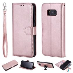 Retro Greek Detachable Magnetic PU Leather Wallet Phone Case for Samsung Galaxy S8 Plus S8+ - Rose Gold
