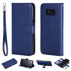 Retro Greek Detachable Magnetic PU Leather Wallet Phone Case for Samsung Galaxy S8 Plus S8+ - Blue
