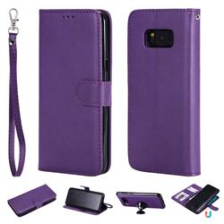 Retro Greek Detachable Magnetic PU Leather Wallet Phone Case for Samsung Galaxy S8 Plus S8+ - Purple