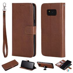 Retro Greek Detachable Magnetic PU Leather Wallet Phone Case for Samsung Galaxy S8 Plus S8+ - Brown