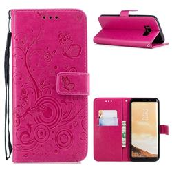 Intricate Embossing Butterfly Circle Leather Wallet Case for Samsung Galaxy S8 Plus S8+ - Red