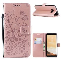 Intricate Embossing Butterfly Circle Leather Wallet Case for Samsung Galaxy S8 Plus S8+ - Rose Gold