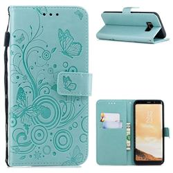 Intricate Embossing Butterfly Circle Leather Wallet Case for Samsung Galaxy S8 Plus S8+ - Cyan