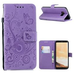 Intricate Embossing Butterfly Circle Leather Wallet Case for Samsung Galaxy S8 Plus S8+ - Purple