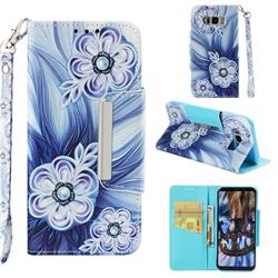 Button Flower Big Metal Buckle PU Leather Wallet Phone Case for Samsung Galaxy S8 Plus S8+
