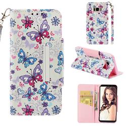 Colored Butterfly Big Metal Buckle PU Leather Wallet Phone Case for Samsung Galaxy S8 Plus S8+