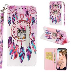Owl Wind Chimes Big Metal Buckle PU Leather Wallet Phone Case for Samsung Galaxy S8 Plus S8+
