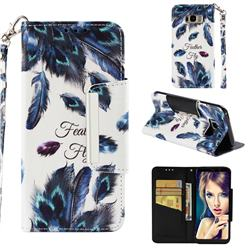 Peacock Feather Big Metal Buckle PU Leather Wallet Phone Case for Samsung Galaxy S8 Plus S8+