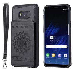 Luxury Embossing Sunflower Multifunction Leather Back Cover for Samsung Galaxy S8 Plus S8+ - Black