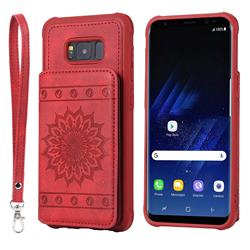 Luxury Embossing Sunflower Multifunction Leather Back Cover for Samsung Galaxy S8 Plus S8+ - Red