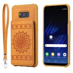 Luxury Embossing Sunflower Multifunction Leather Back Cover for Samsung Galaxy S8 Plus S8+ - Brown
