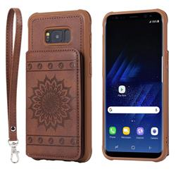 Luxury Embossing Sunflower Multifunction Leather Back Cover for Samsung Galaxy S8 Plus S8+ - Coffee