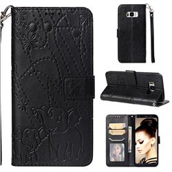 Embossing Fireworks Elephant Leather Wallet Case for Samsung Galaxy S8 Plus S8+ - Black